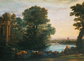 Claude Lorrain (Gellée): Idyllische Landschaft bei untergehender Sonne