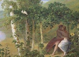 """Caspar David Friedrich: Liebespaar, Detail aus """"Der Sommer"""""""