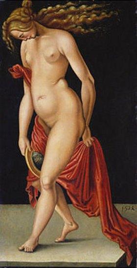 Deutsch: Frau mit Spiegel. 1524 (Bild Aldegrever zugeschrieben)