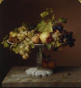 Johann Wilhelm Preyer: Stillleben mit Obst und Weinblättern
