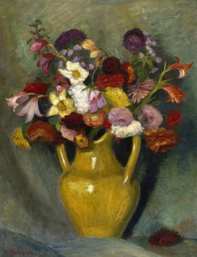Otto Modersohn: Bunter Blumenstrauß in gelbem Tonkrug
