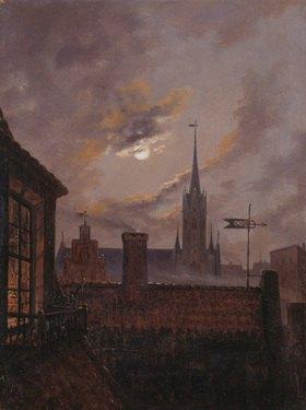 Carl Gustav Carus: Deutscher Mondschein (Blick über Dächer auf eine gotische Kirche im Mondschein)