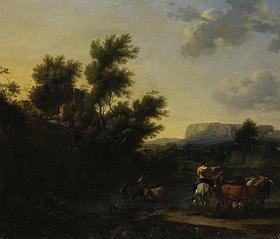 Nicolaes Berchem: Italienische Landschaft mit Vieh und Hirten