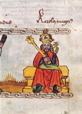 Anonym: Karl der Große. Buchmalerei, 15. Jahrhundert