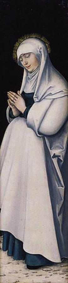 Lucas Cranach d.Ä.: Kreuzigungstriptychon: Maria in Anbetung
