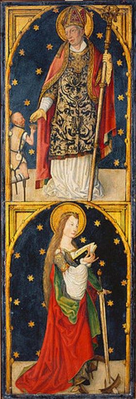 Meister des Wendelinaltars: Der Hl. Martin und die Hl. Katharina, Triptychon - Linker Flügel