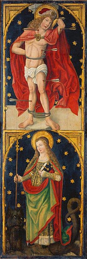 Meister des Wendelinaltars: Der Hl. Sebastian und die Hl. Margaretha. Triptychon, rechter Flügel