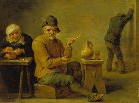 David Teniers: Zwei Bauern und ein altes Weib in der Schenke