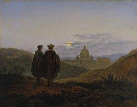 Carl Gustav Carus: Erinnerung an Rom (Blick auf die Peterskirceh in Rom. Im Vordergrund Raffael und Michelangelo)