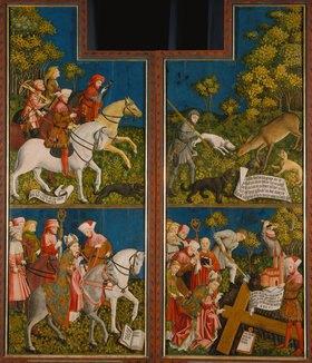 Meister der Pollinger Tafeln: Kreuzaltar aus Polling, li.und re.Flügel innen, Legende des Tassilo