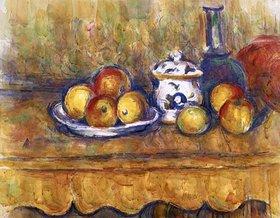 Paul Cézanne: Stilleben mit blauer Flasche und Zuckerdose. Aquarell