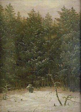 Carl Gustav Carus: Verschneiter Wald mit Steinkreuz