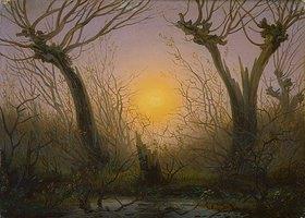Caspar David Friedrich: Waldlandschaft bei tiefstehender Sonne