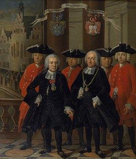 Friedrich Ludwig Hauck: Gruppenporträt mit den beiden Frankfurter Bürgermeistern Carl Schlosser und Nicolaus Konrad Hupka