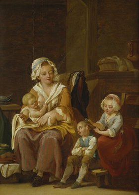 Georg Melchior Kraus: Mutter mit drei Kindern