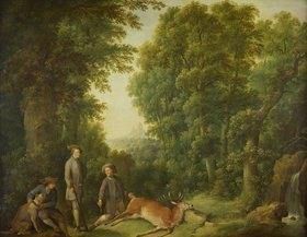 Johann Andreas Herrlein: Waldlandschaft mit Jägern und erlegtem Rotwild