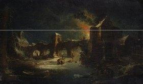 Johann Georg Trautmann: Winterstück mit brennender Burg