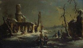 Johann Georg Trautmann: Verschneite Ruine an einem zugefrorenen Fluss