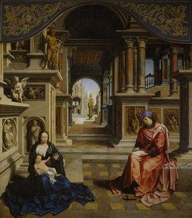 Jan (gen.Mabuse) Gossaert: Der hl. Lukas malt die Madonna