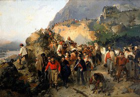 Girolamo Induno: Der verletzte Giuseppe Garibaldi am Fuße des Aspromonte-Gebirges. 19. Jh