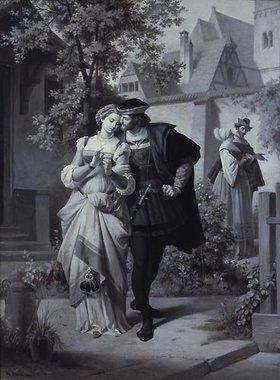 Theodor Pixis: Spaziergang im Garten: Faust mit Gretchen und Mephisto mit Marthe