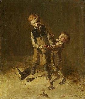 Wilhelm Busch: Zwei Schusterjungen balgen sich um einen Apfel