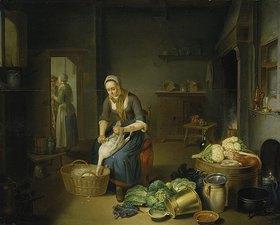 Justus Juncker: Küchenstück mit Gänse rupfender Frau