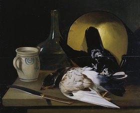 Justus Juncker: Küchenstilleben mit Tauben