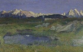 Giovanni Segantini: Alpenlandschaft bei Sonnenaufgang