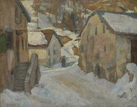 Paul Crodel: Dorfstraße im Winter