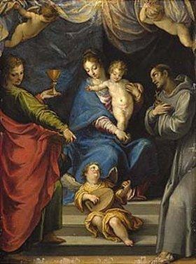 Johann Rottenhammer: Maria mit Kind und den hl. Johannes d. Ev. und Franziskus