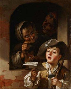 Unbekannter Künstler: Singender Savoyarde vor einem Fenster mit altem Paar. Wohl 2. Hälfte 18. Jh