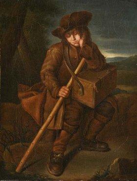 Unbekannter Künstler: Schlafender Savoyardenknabe mit umgehängter Marmotte. 18. Jh
