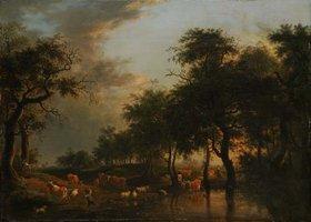 Unbekannter Künstler: Waldlandschaft mit Herde