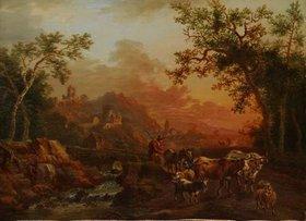 Christian Georg Schütz d.Ä.: Landschaft mit Bachlauf, heimkehrendem Hirten und Herde. Um 1780/90?