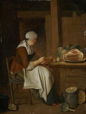 Justus Juncker: Küchenstück mit sitzender Frau