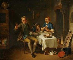 Justus Juncker: Interieur mit Bauernfamilie beim Nachtmahl