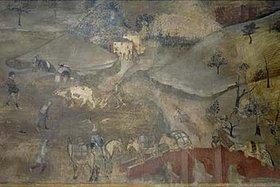 Ambrogio Lorenzetti: Das Leben auf dem Land (Aus: Die Folgen der Guten Regierung) - Detail