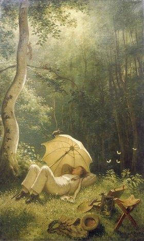 Carl Spitzweg: Der Maler (Rast im Walde)