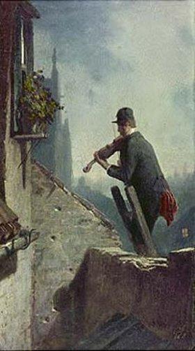 Carl Spitzweg: Ständchen (Geiger auf dem Dach)