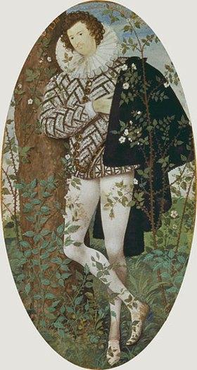 Nicholas Hilliard: Junger Mann zwischen Rosen an einen Baum gelehnt
