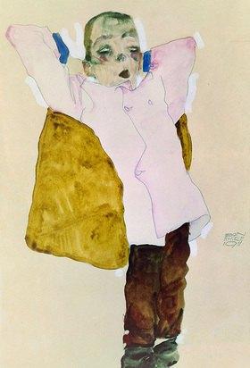 Egon Schiele: Junger Mann mit rosa Jacke