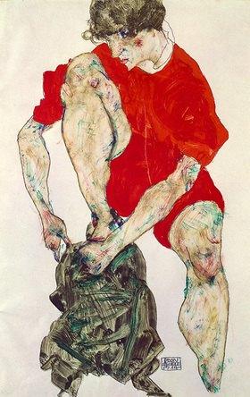 Egon Schiele: Weibliches Modell in feuerroter Jacke und Hose