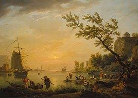Claude Joseph Vernet: Seehafen in Abendstimmung