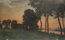 Johann Gottfried Hoven: Die Gerbermühle im Abendrot mit Blick nach Frankfurt am Main. Eventuell vor