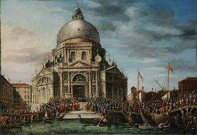 Unbekannter Künstler: Der jährliche Besuch des Dogen in Santa Maria della Salute in Venedig. 18. Jh