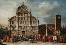 Unbekannter Künstler: Der Besuch des Dogen in San Zaccharia in Venedig. 18. Jh