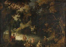 Unbekannter Künstler: Waldlandschaft mit mythologischer Staffage: Diana und Aktaion