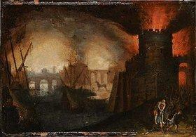 Unbekannter Künstler: Der Brand von Troja. 17. Jh