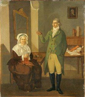 Peter Eduard Ströhling: Doppelporträt eines jungen Mannes und einer älteren Frau in Interieur